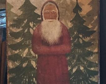 Primitive Christmas Santa Claus Belsnickle St Nick Feather Tree Print 8x10