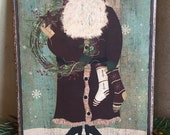 Handmade Folk Art Primitive Christmas Santa with Wreath and Stockings Print on Canvas Board 5x7 quot or 8x10 quot