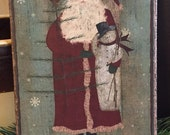 Handmade Folk Art Primitive Christmas Santa with Snowman and Feather Tree Print on Canvas Board 5x7 quot or 8x10 quot