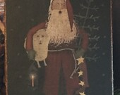 Handmade Folk Art Primitive Christmas Santa Claus with Sheep, Lantern, and Tree Print on Canvas Board 5x7 quot or 8x10 quot