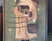 Handmade Folk Art Primitive Christmas Santa with Log Cabin and Feather Tree Print on Canvas Board 5x7 quot or 8x10 quot