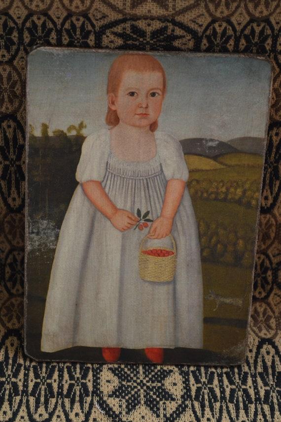 "Antique Reproduction Primitive Folk Art Girl w Sheep Print on Canvas Board 8x10/"""