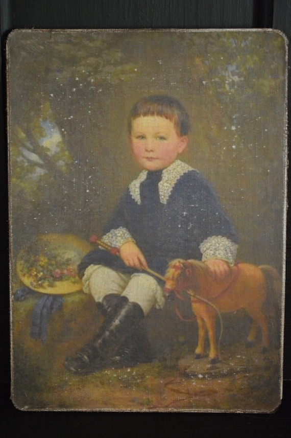 "Antique Repro Primitive Man with Books Folk Art Print on Canvas Board 8x10/"""