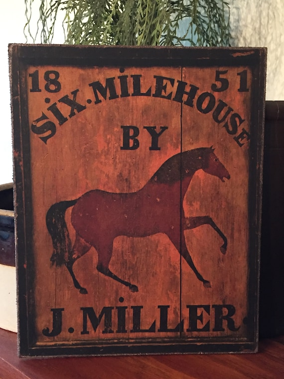 Folk Art Primitive Black Horse Inn On 8x10 Canvas Board