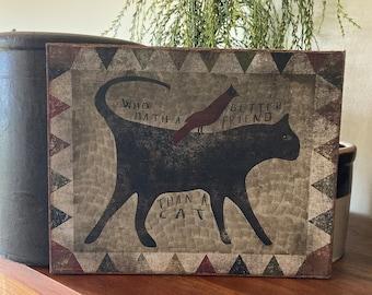 "Handmade Primitive Black Cat Red Bird Folk Art Print on Canvas Board 8x10"""