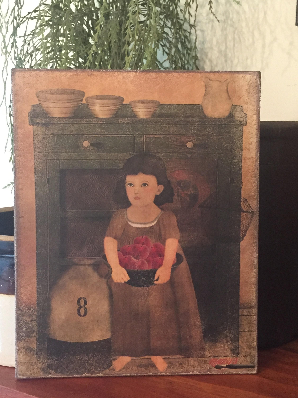 "Primitive Folk Art  Proverbs Sheep  Print on Canvas Board 8x10/"""