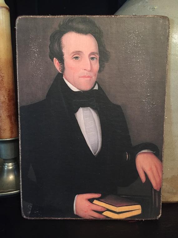"Antique Repro Colonial Primitive Man Mr Pearce  Print on Canvas Board 5x7/"""