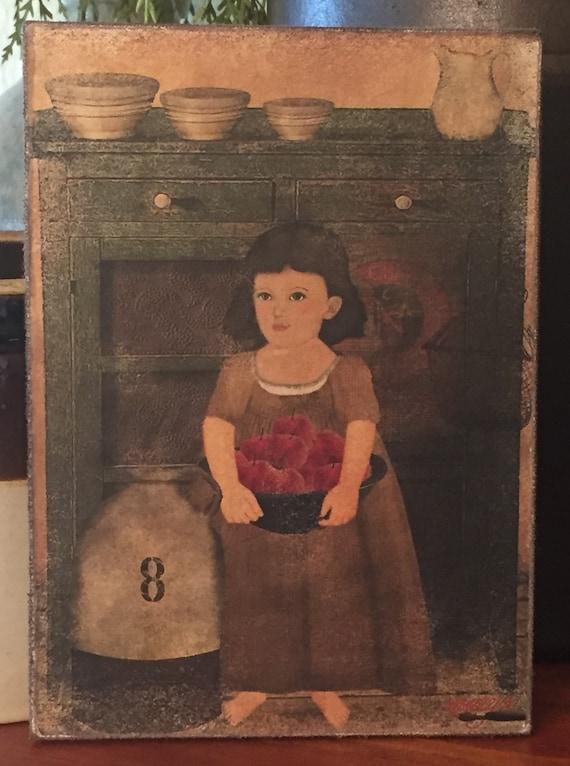 "Primitive Folk Art Thanksgiving Redware Turkey Print on Canvas 5x7/"""