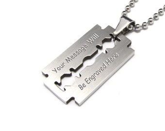 CUSTOM ENGRAVED PERSONALIZED Stainless Steel Razor Blade Necklace Pendant