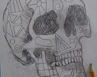 Pencil drawing skull drawing pencil on paper