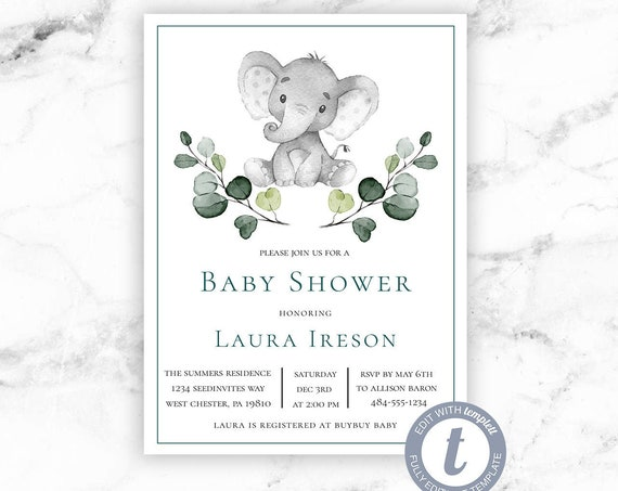Gray Elephant Baby Shower Invitation - Elephant Gender Neutral Safari Greenery Invite- Printable Editable Instant Download - Templett