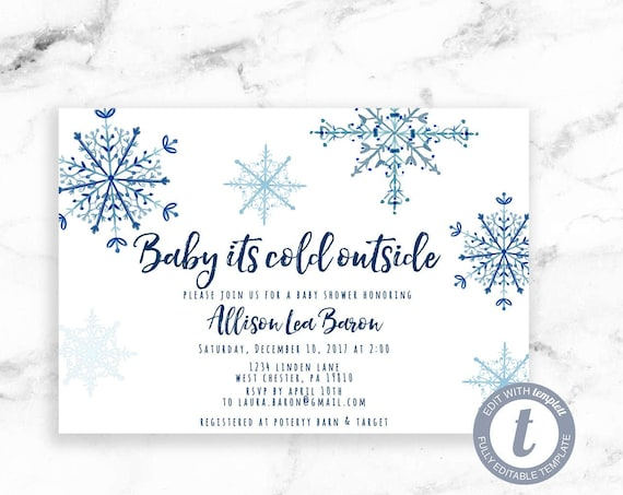 Snowflake Gender Neutral Baby Shower Invitation, Blue Snowflake Baby Its Cold Outside Invite,Printable Editable Instant Download, Templett