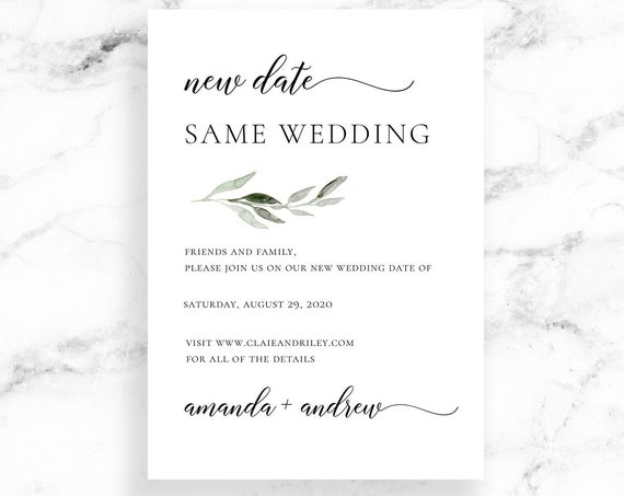 Editable Wedding Date Change Card Download - Modern Script Calligraphy - Watercolor Greenery - Editable Printable Instant Digital Download