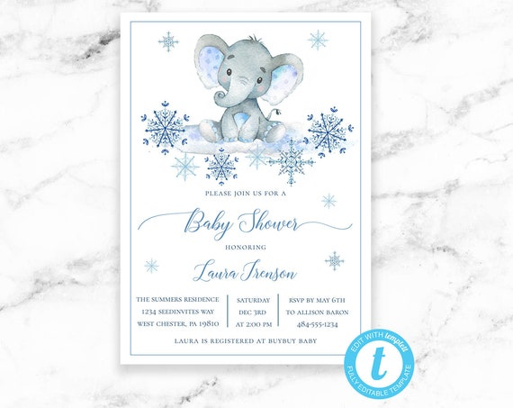 Baby Shower Invitation - Elephant Snowflake Baby Boy Safari - Winter Baby Shower - Printable Editable Instant Download JPEG PDF