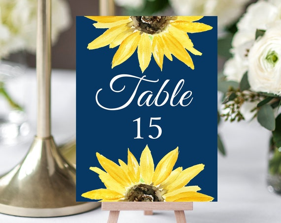 Sunflower Wedding Table Numbers Sign - Sunflower - Editable Template - Printable DIY PDF JPEG File