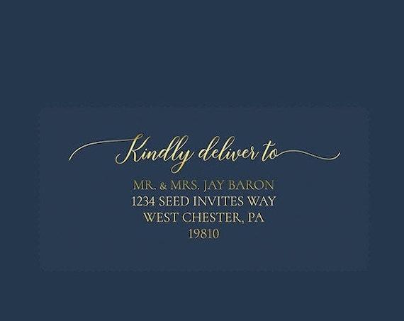 Clear Gold Foil Guest Address Labels or Recipient Address Labels, Calligraphy Address Printing, Envelope Addressing, Printed Addresses