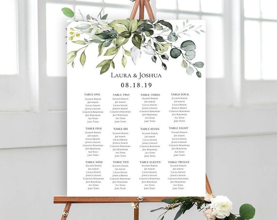 Greenery Wedding Seating Chart Sign Poster - Editable Template - Printable DIY PDF JPEG File - 18x24 or 24x36