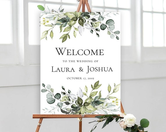 Greenery Wedding Welcome Sign Poster - 18x24 or 24x36 Editable Template - Printable DIY PDF JPEG File Templett