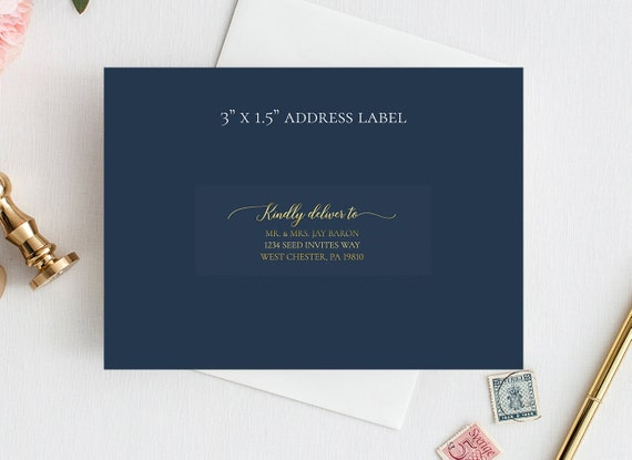"3""x1.5"" Clear Gold Foil Guest Address Labels, Recipient Address Labels, Calligraphy Address Printing, Envelope Addressing, Printed Addresses"