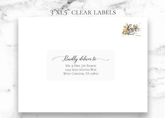 "3""x1.5"" Clear Guest Address Labels, Recipient Address Labels, Calligraphy Address Printing, Envelope Addressing, Printed Addresses,Black Ink"