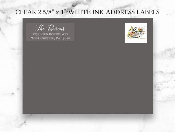 Clear Return White Ink Address Labels , Calligraphy Address Printing, Envelope Addressing, Printed Addresses - Digital Printed Calligraphy