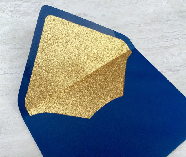 Gold Glitter Lined Envelope - Navy Blue A7 Envelope - Navy & Gold Wedding Invitation - Night Navy Paper Source Envelopes