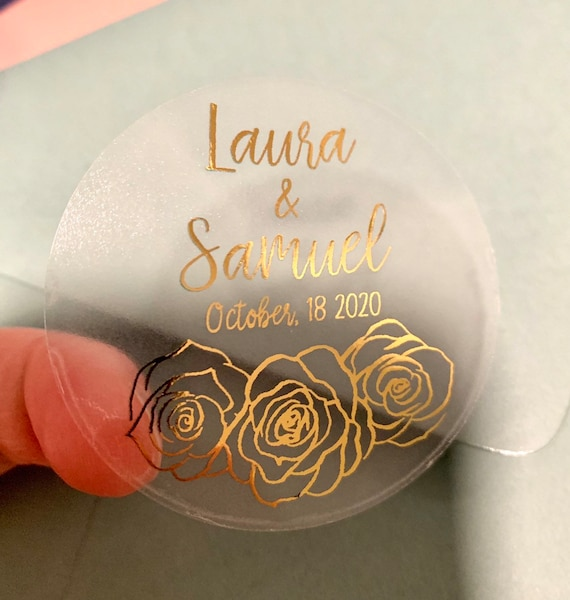 """2"""" Gold Foil Wedding Stickers Rose Gold Personalized Clear Favor Sticker Envelope Seals Candle Sticker 20 per Sheet Gloss Label"""