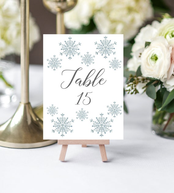 Snowflake Silver Wedding Table Numbers Sign - Winter Snowflake - Editable Table Number Template - Printable DIY PDF JPEG File - 5x7