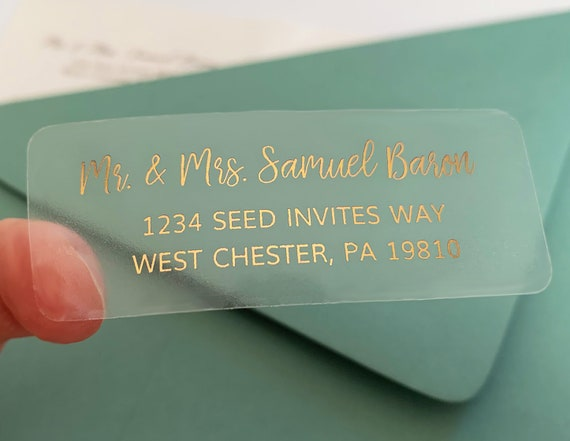 "Custom Listing For Brittany - Guest or Return Address Labels , Clear Gold Foil Labels, Envelope Addressing, Printed Addresses 2 5/8""x1"""