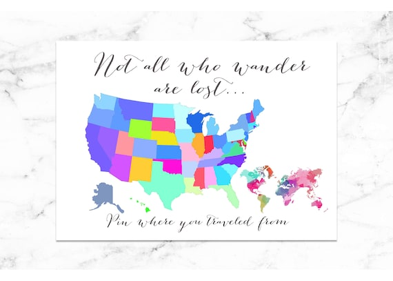 Travel Map - Pin Where Traveled from - Guest Map - Digital Image - Vacation Rental Map - United States Map - USA Map