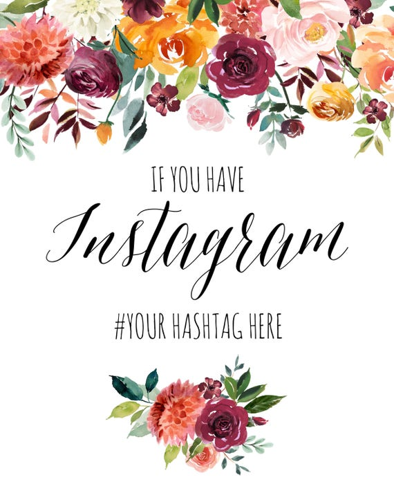 Navy Blue Coral Blush Rose Pink Red Instagram Hashtag Wedding Sign Print