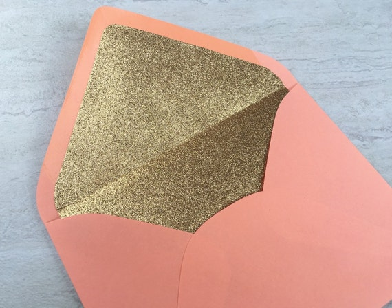 Coral A7 5x7 Gold or Silver Glitter Lined Envelopes - Coral Paper Source Envelopes - Envelope Liner