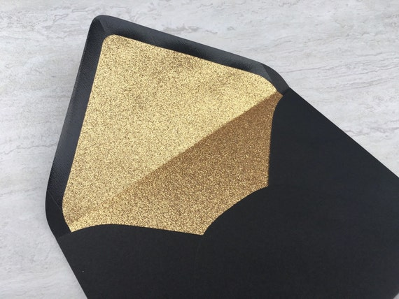a7 black gold glitter lined envelope 5x7 wedding invitation etsy