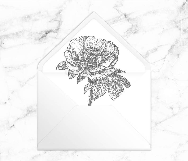 graphic relating to Flower Outline Printable known as Printable Envelope Liner - Grey Flower Define - A7 5x7 Envelope - Printable Immediate Obtain PDF