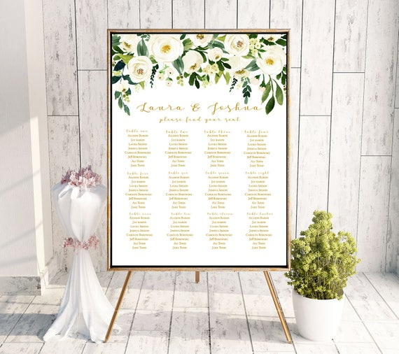 Wedding Seating Chart Sign Poster White Flower Gold