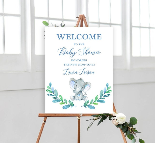Elephant Baby Boy Shower Welcome Sign Poster - Editable Template Instant Download - Printable PDF JPEG File - 18x24