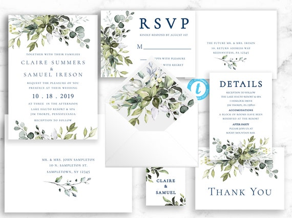 Greenery Wedding Invitation Suite - Bohemian Invitation - Boho Invite - Printable Invite Template Editable Instant Download Templett