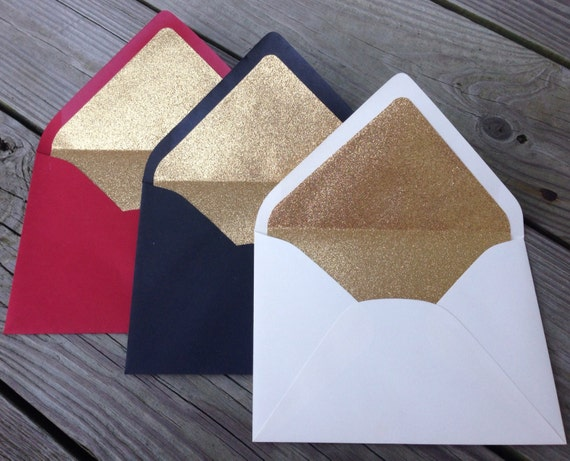 Gold Glitter Lined Envelopes - Red Black White 5x7 A7 Envelope Liners