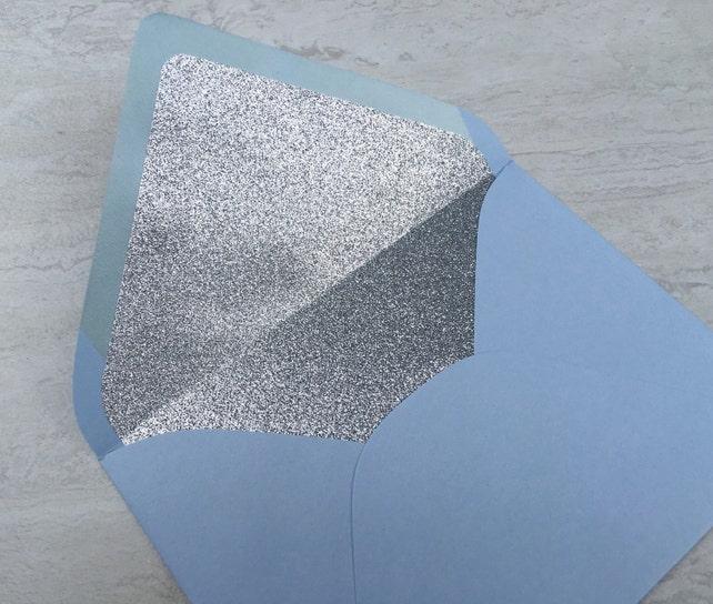 Bluebell Baby Blue A7 5x7 Envelopes with Silver Glitter Liner - Paper Source Envelopes - No Shed Glitter - Envelope Liner