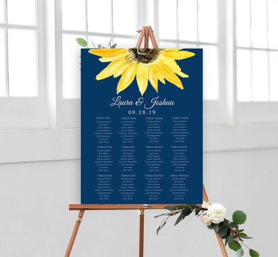 Navy Sunflower Wedding Seating Chart Sign Poster - Sunflower- Editable Template - Printable DIY PDF JPEG File MS1 - 18x24 or 24x36
