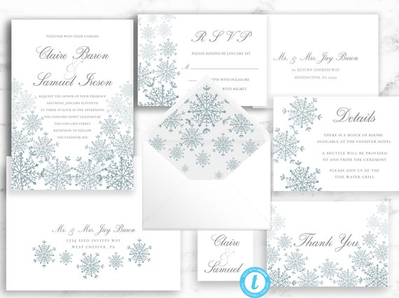 Snowflake Wedding Invitation template, Winter Wedding Invite, Printable Template - Editable Download