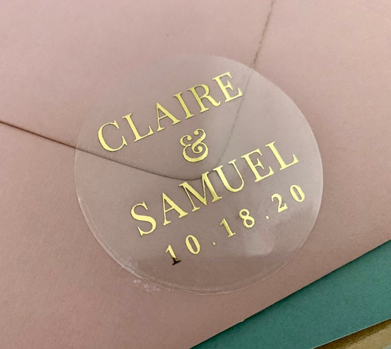 """2"""" Gold Wedding Sticker Rose Gold Personalized Clear Favor Sticker Envelope Seals Candle Stickers 20 per Sheet Gloss Label Gold Foil Sticker"""