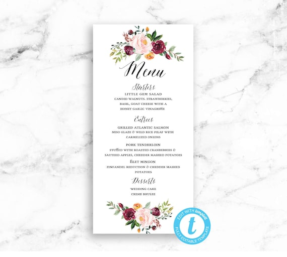 Wedding Menu Card Printable Download - Pink Red Flower Editable Template -  DIY PDF JPEG File - Riley Floral