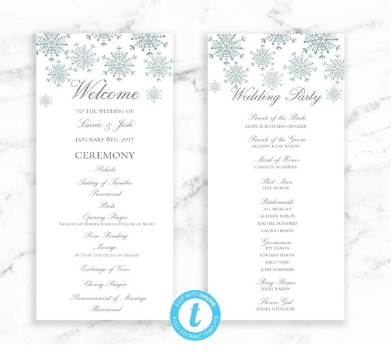 Snowflake Wedding Program Ceremony Printable Template - Snowflake Winter Wedding - Editable Template - Printable DIY PDF JPEG File