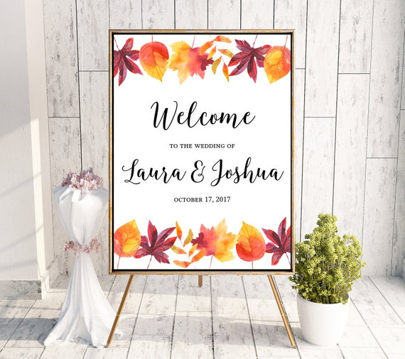 Fall Leaves Wedding Welcome Sign Poster Printable Download Editable Template Diy Pdf Jpeg File 18x24 Or 24x36