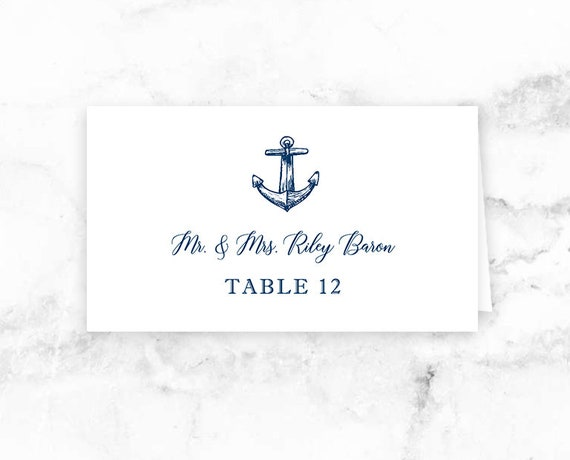 photo relating to Printable Seating Cards named Nautical Wedding ceremony Printable Level Playing cards - Seating Playing cards - Blue Nautical Anchor - Editable Template - Printable Do-it-yourself PDF JPEG Document - 3.5x2