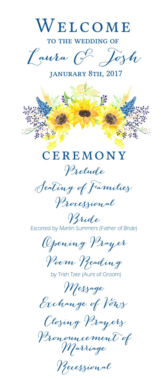 picture regarding Sunflower Template Printable named Marriage ceremony Computer software Rite Printable Template - Watercolor