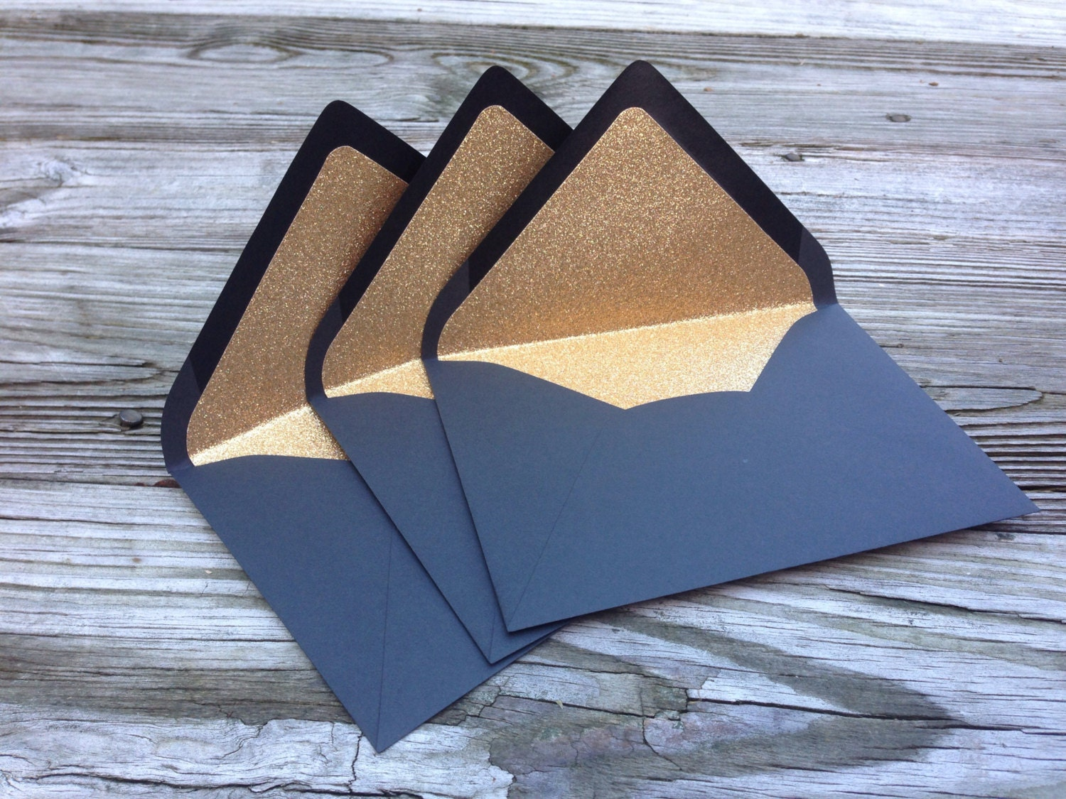 A7 black gold glitter lined envelope 5x7 wedding invitation 1800 stopboris Image collections