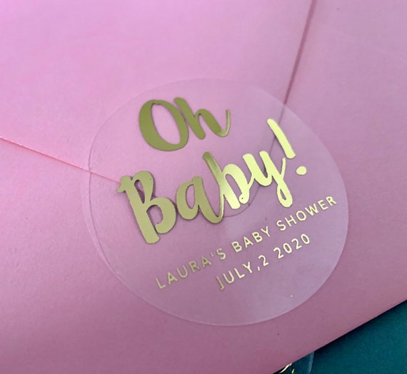 """2"""" Gold Real Foil Baby Shower Stickers Rose Gold Personalized Clear Favor Sticker Envelope Seals Candle Sticker 20 per Sheet Gloss Label"""