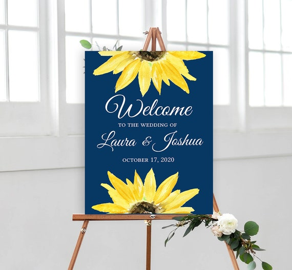Navy Sunflower Wedding Welcome Sign Poster - Watercolor Sunflower - Editable Template - Printable DIY PDF JPEG File - 18x24 or 24x36